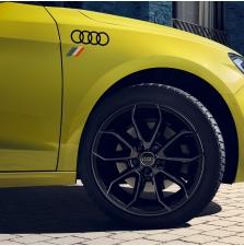 Kleebis Audi rõngad heritage lipuga, briljantmust